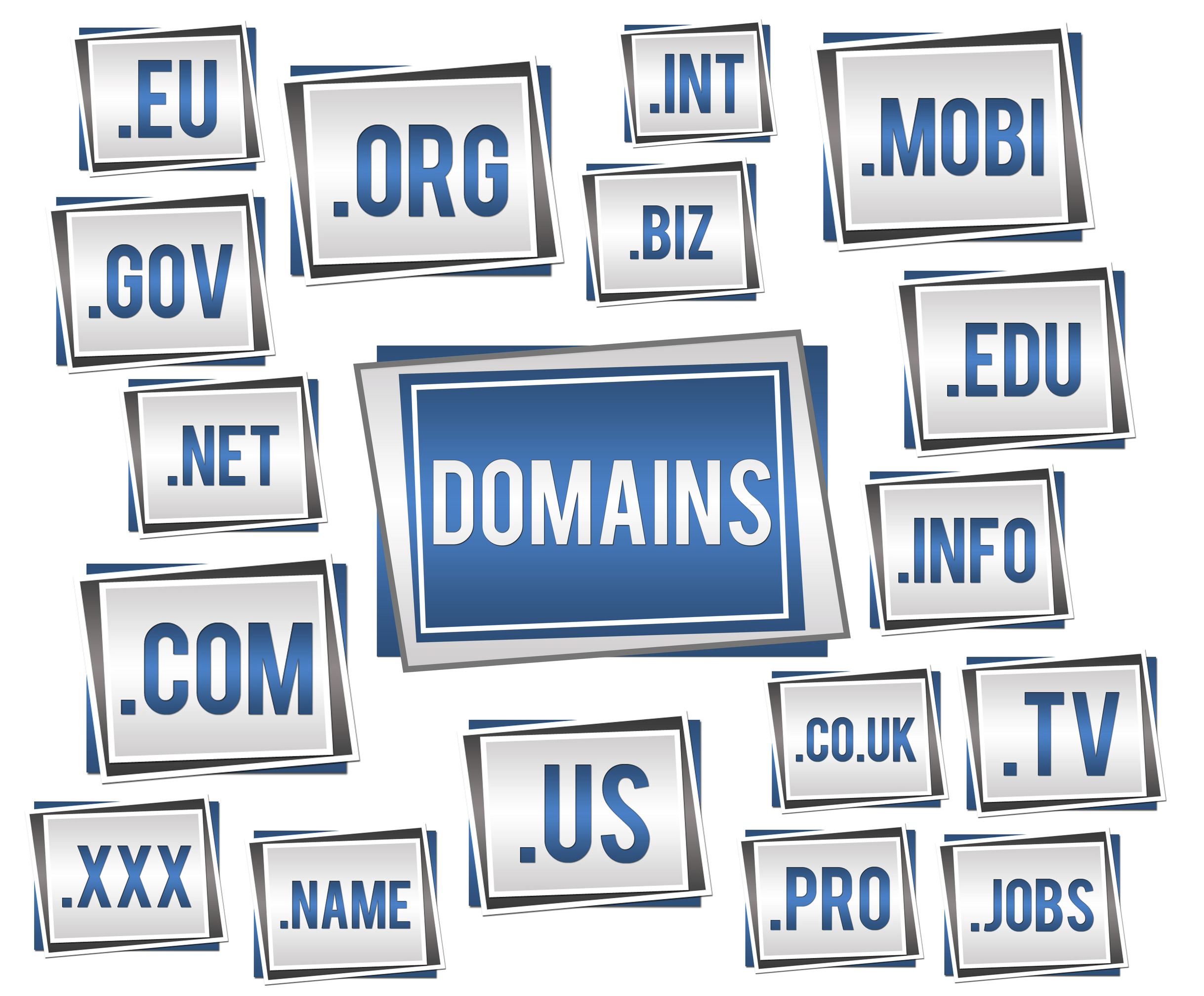 Image with various domain name list in graphical representation.