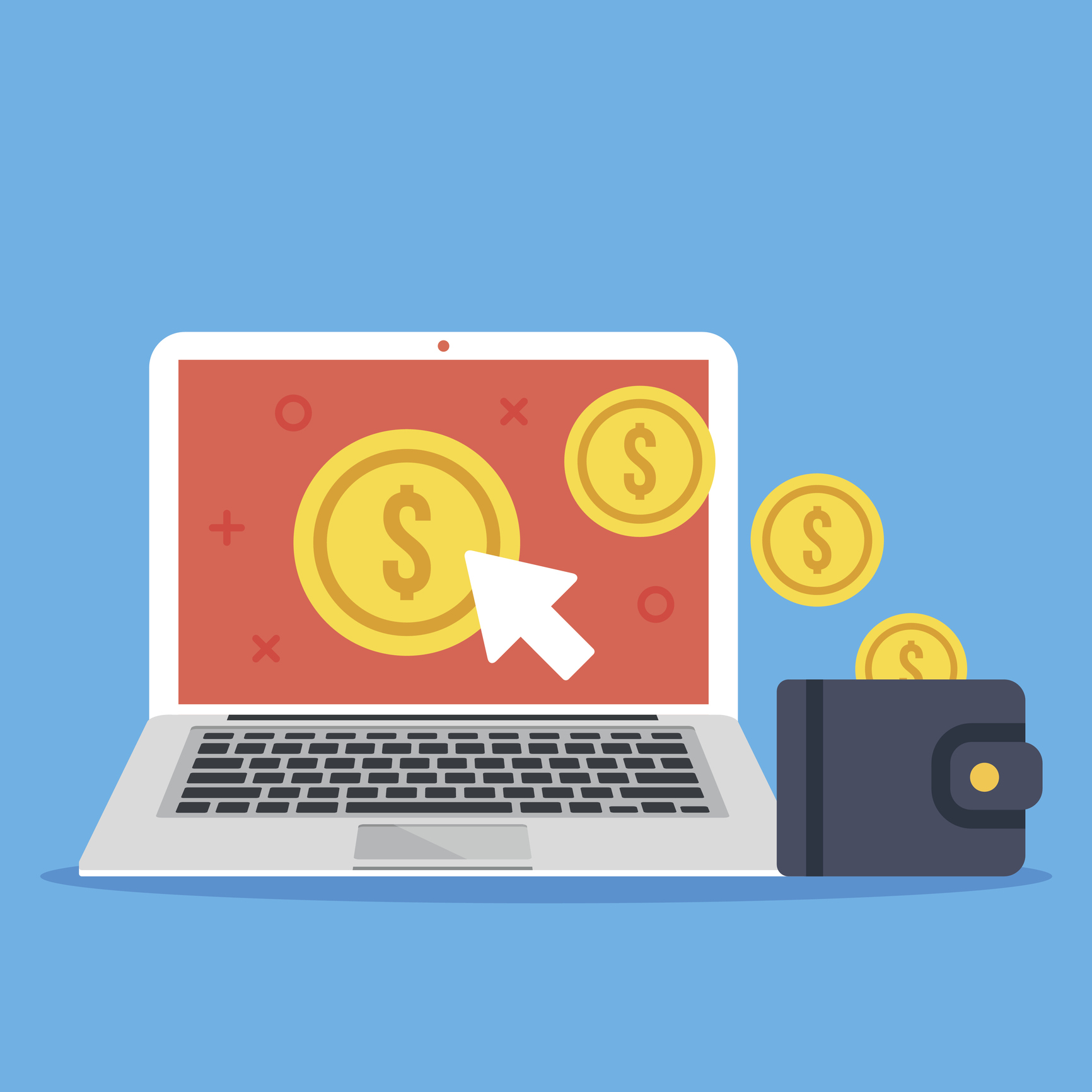 Pay per click, make money online. Flat design vector illustration