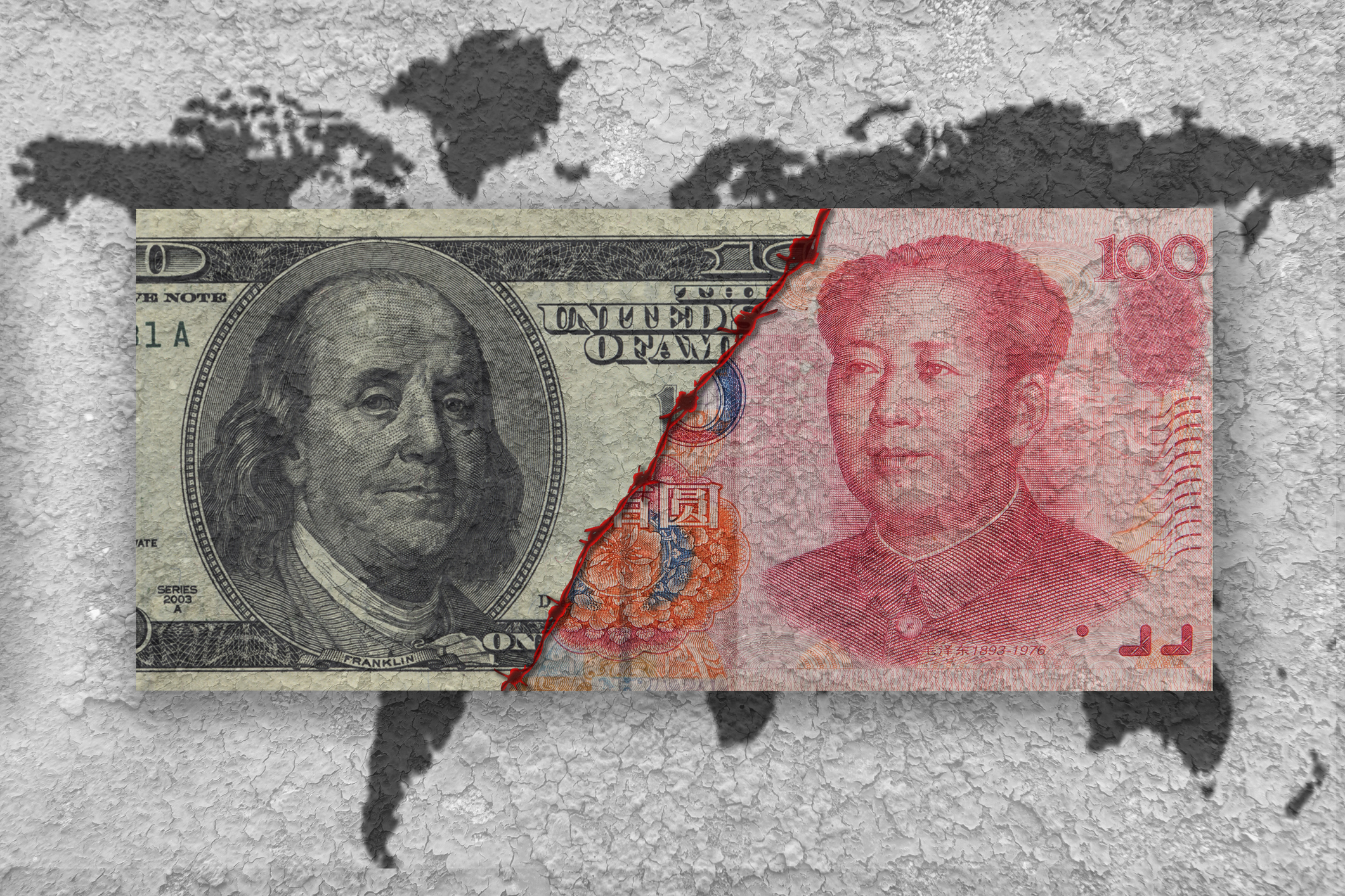 usa versus china, economic war concept